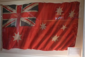 Australian Ensign flag donated to the Coo-ees at Woodford, now on display at the Coo-ee Heritage Centre, Gilgandra (Photograph: H. Thompson)