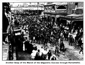 Coo-ees marching through Parramatta (The Cumberland Argus and Fruitgrowers Advocate 20/11/1915)