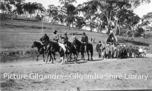 Coo-ees being lead into Dripstone, NSW (Photograph courtesy of Gilgandra Shire Library)