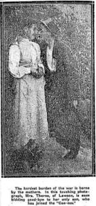 Mrs Thorne with her son Thomas Thorne who joined at Lawson (Mirror of Australia 13/11/1915)