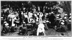 Al fresco lunch at Bowenfells (Sydney Mail 10/11/1915)