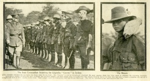 "The State Commandant inspecting the ""Coo-ees"" in Sydney (Sydney Mail 15/3/1916)"