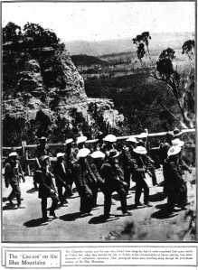 Coo-ees climbing Berghofers Pass on Mt. Victoria (Sydney Mail 17/11/1915)
