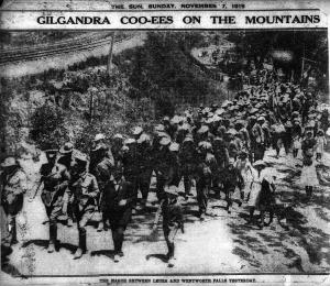 Coo-ees marching between Leura and Wentworth Falls (The Sun 7/11/1915)