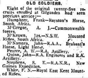 Gilgandra recruits with previous military service (Farmer & Settler 15/10/1915)