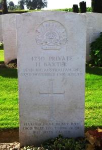 Harold Baxter headstone, Bancourt British Cemetery (Photograph: S & H Thompson 2012)
