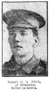 Sapper C. A. Finn, of Gilgandra killed in action (Newspaper unknown, ca. 1917)