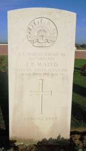 Joseph Patrick Wallis headstone at Fromelles (Pheseant Wood) Military Cemetery, France (Photograph S & H Thompson 2012)