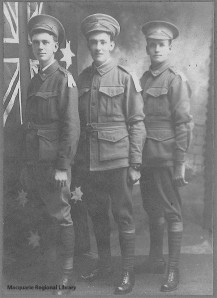 W. Hilton Saunders, Ernest May, and Wilfred McDonald, at Dubbo, ca. Dec. 1915 (Photograph courtesy of Macquarie Regional Library)