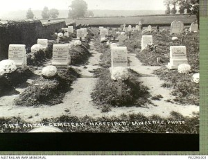 The Anzac Cemetery Harefield, Lawrence, photo [ca. 1917] (Photograph public domain from the AWM website: http://www.awm.gov.au/collection/P02293.001)