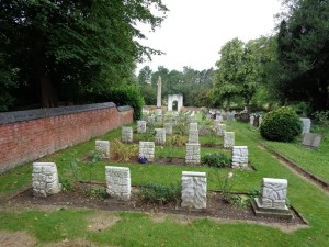 An Australian flag marks Bill Hitchen's grave at Harefield (St. Mary) Churchyard. (Photograph: S & H Thompson 17/8/2014)