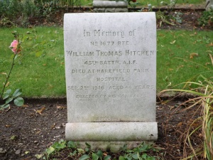 Bill Hitchen's headstone, Harefield (St. Mary) Churchyard (Photograph: S & H Thompson, 17/8/2014)