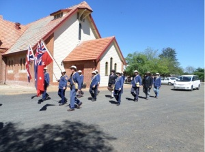 Re-enactor Coo-ee marchers leaving the church service (Photograph: H. Thompson 5/10/2014)