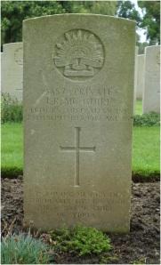 Joseph Raymond McGuire's headstone at Lijssenthoek Cemetery, Belgium (Photograph: H. Thompson 28/8/2014)