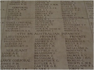 H. Davenport's and D. Keating's names on the Menin Gate Memorial (Photograph: H. Thompson 29/8/2014)