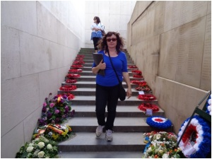 Wreaths on the stairs at the Menin Gate Memorial (Photograph: H. Thompson 29/8/2014)