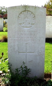 James O'Neill's headstone at the Menin Road South Military Cemetery, Belgium (Photograph: H. Thompson 29/8/2014)