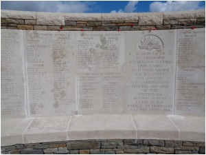 Names on memorial wall at V.C. Corner Cemetery and Memorial (Photograph: H. Thompson 1/9/2014)
