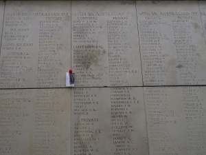 A. C. Janion served as A. C. Johnson on 45th Battalion panel at the Menin Gate Memorial, Belgium (Photograph: H. Thompson 11/9/2012)