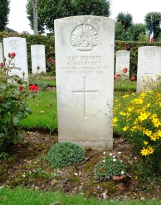 Frank Humphrey's headstone at Ste. Marie Cemetery, Le Havre, France (Photograph: H. Thompson 2/9/2014)