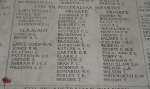 KEATING D. on on 4th Battalion panel [near bottom of left row in Lance Corporal section] at the Menin Gate Memorial, Ieper (Ypres), Belgium (Photograph: H. Thompson 11/9/2012)