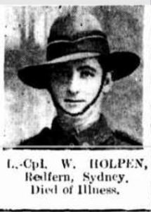 L. Cpl. W. Holpen, Redfern, Sydney. Died of Illness (Sydney Mail, 8/1/1919)