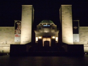 Hunter W E name projected on the the Hall of Memory wall at the AWM (Photograph: H. Thompson 5/1/2015)