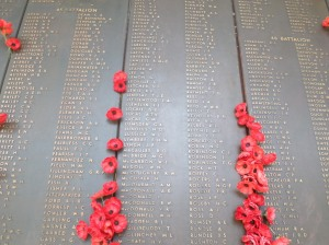 Leoville L. and Letcher S. J. names on the 45th Battalion AWM Roll of Honour (Photograph: H. Thompson 4/1/2015)