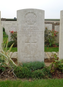 Private S. J. Letcher's headstone at AIF Burial Ground, France (Photograph: H. Thompson 4/9/2014)