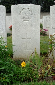 Joseph Parrish's headstone at Terlincthun British Cemetery, France (Photograph: H. Thompson 5/9/2014)