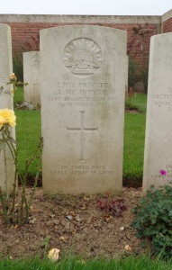 Archibald McIntyre's headstone at Puchervillers British Cemetery, France (Photograph: S & H Thompson 5/9/2014)