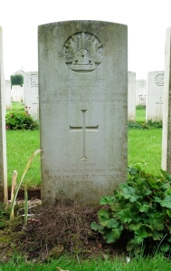 Private B. Coyte's headstone at Jeancourt Communal Cemetery Extension, France (Photograph: S & H Thompson, 6/9/2014)