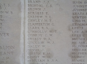 """""""CONROY C W"""" name on V. C. Corner Cemetery and Memorial (Photograph: S & H Thompson, 1/9/2014)"""