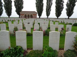 H.A.C. Cemetery at Ecoust-St. Mein, France (Photograph: S. & H. Thompson, 6/9/2014)