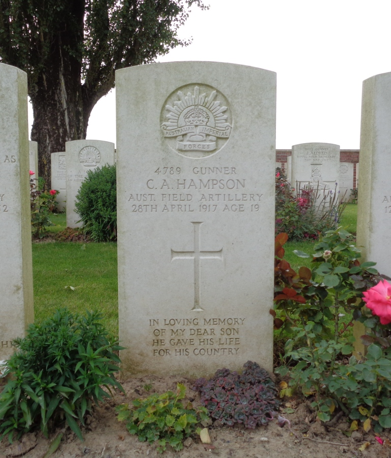 Charles Alfred Hampson's headstone at H.A.C. Cemetery, France (Photograph:  S. & H