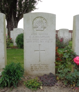 Charles Alfred Hampson's headstone at H.A.C. Cemetery, France (Photograph: S. & H. Thompson, 6/9/2014)