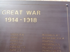 'MCDONALD W E' name on Dubbo War Memorial Roll of Honour (Photograph: H. Thompson, 25/4/2015)