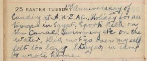 W. H. Saunders diary entry 25/4/1916 (Image part of the State Library of NSW collection)