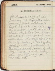 W. H. Saunders diary entry 25/4/1918 (Image part of the State Library of NSW collection)