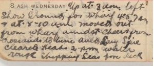 W. H. Saunders diary entry 8/3/1916 (Image part of the State Library of NSW collection)
