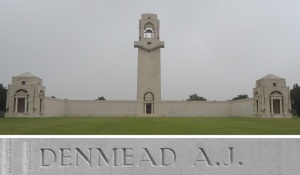 A.J. Denmead's name on the Villers-Brettoneux Memorial (Photograph: S. & H. Thompson, 7/9/2015)