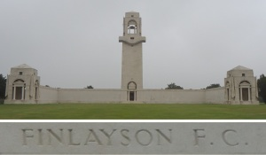 Private Finlayson's name on the Villers-Bretonneux Memorial, France (Photograph: S. & H. Thompson 7/9/2014)