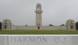 Private Harmon's name on the Villers-Bretonneux Memorial, France (Photograph: S. & H. Thompson 7/9/2014)