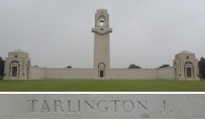 Private Tarlington's name on the Villers-Bretonneux Memorial, France (Photograph: S. & H. Thompson 7/9/2014)
