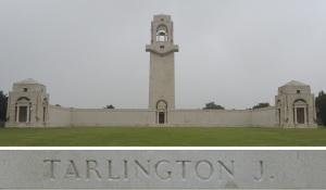 Private Tarlington's name on the Villers-Bretonneux Memorial, France (Photograph: S. & H. Thompson 7/9/2014)