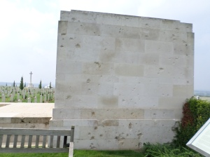 Bullet holes in wall at Villers-Bretonneux Memorial (Photograph: S. & H. Thompson, 7/9/2014)