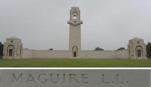 Lance Corporal Maguire's name on the Villers-Bretonneux Memorial, France (Photograph: S. & H. Thompson 7/9/2014)