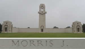 Private Morris' name on the Villers-Bretonneux Memorial, France (Photograph: S. & H. Thompson 7/9/2014)