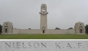 Private Nielson's name on the Villers-Bretonneux Memorial, France (Photograph: S. & H. Thompson 7/9/2014)