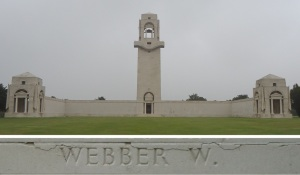 Private Webber's name on the Villers-Bretonneux Memorial, France (Photograph: S. & H. Thompson 7/9/2014)
